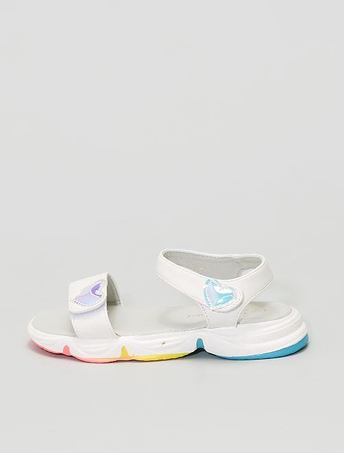 Sandales type sport à scratchs                             blanc