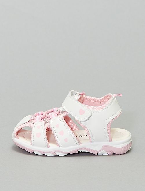 Sandales type sport                             blanc/rose