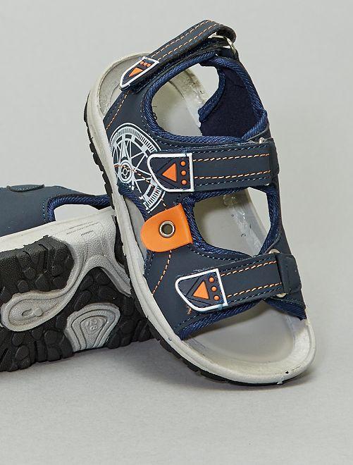 Sandales type sport imprimées                             bleu