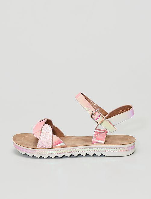 Sandales vernies avec sequins brillants                             rose