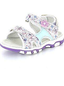 Chaussures bébé - Sandalettes fleuries à scratchs - Kiabi