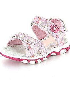 Sandalettes fleuries à scratchs - Kiabi