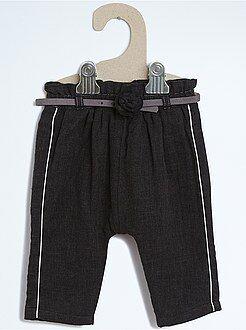 Fille 0-36 mois Sarouel effet lainage doublé avec ceinture