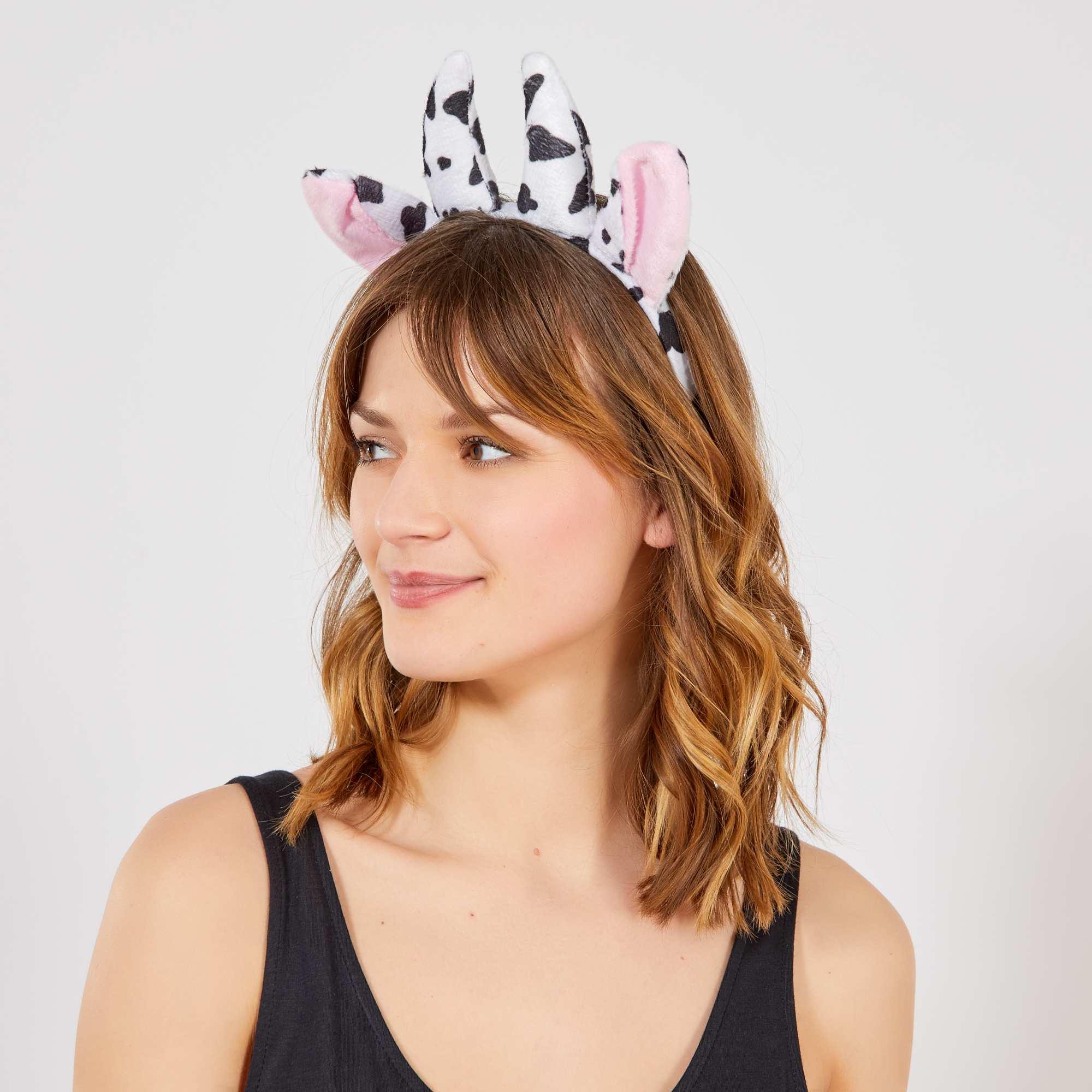Couleur : noir/blanc, , ,, - Taille : TU, , ,,L'accessoire idéal pour compléter un costume de vache. - Serre-tête en plastique -
