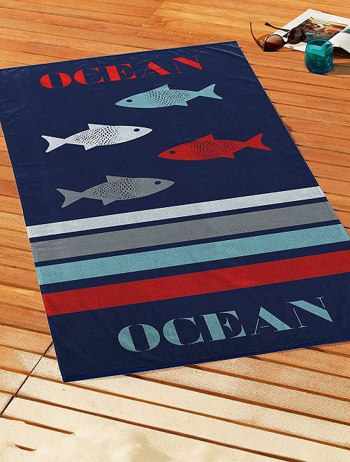 Serviette de plage 'océan'                             bleu marine
