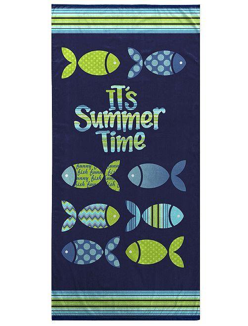Serviette de plage 'poissons'                             bleu/vert