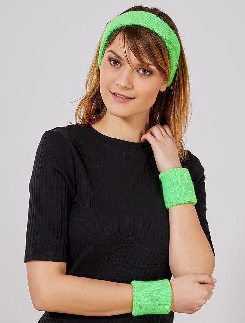 Set bandeau et poignets en éponge                                                                 vert Accessoires