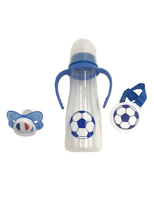Set biberons + tétine + attache 'football'                             bleu