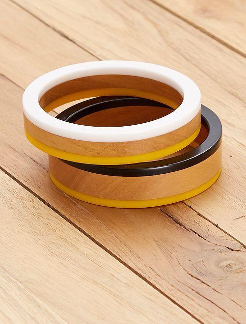 Set de 2 bracelets ronds                                         jaune/blanc Femme