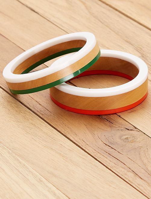 Set de 2 bracelets ronds                                         vert/orange