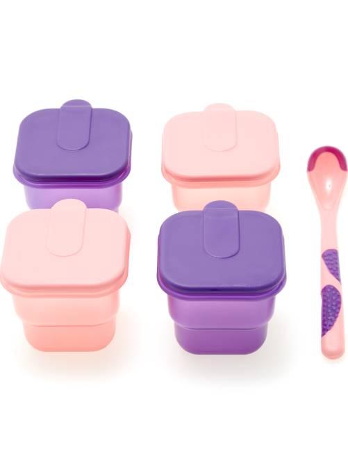 Set de 4 pots + cuillère bébé                                         violet/rose Bébé fille