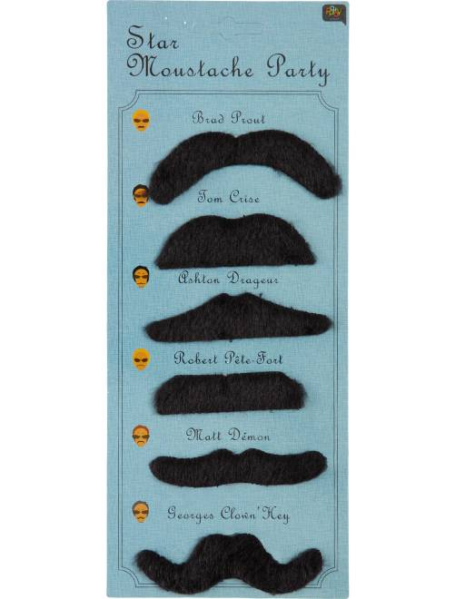 Set de 6 moustaches                             noir