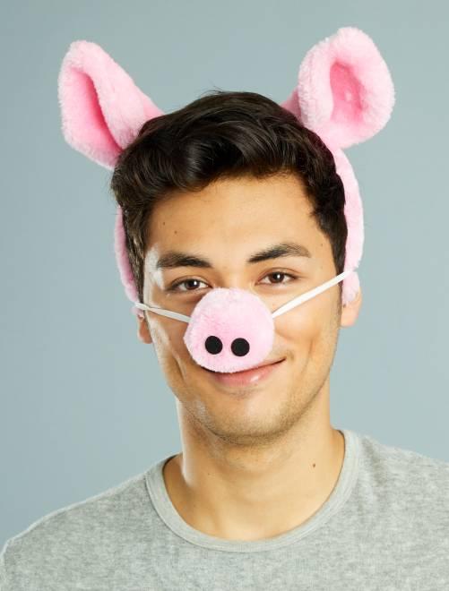 Set serre-tête et nez de cochon mixte                             rose Homme