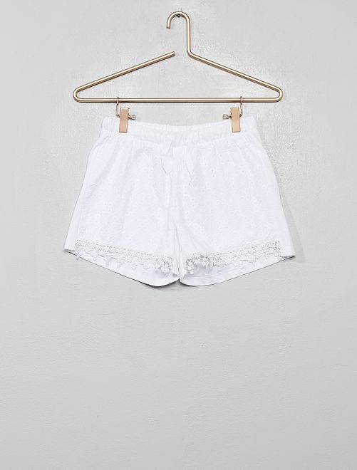 Short à broderie anglaise                                         blanc