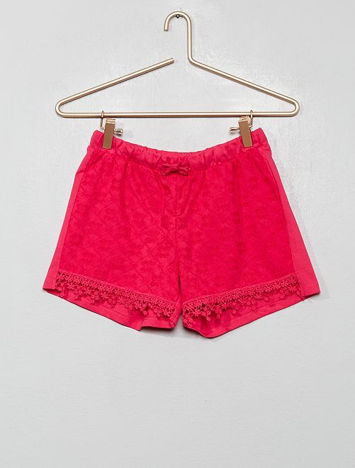 Short à broderie anglaise                                         rose
