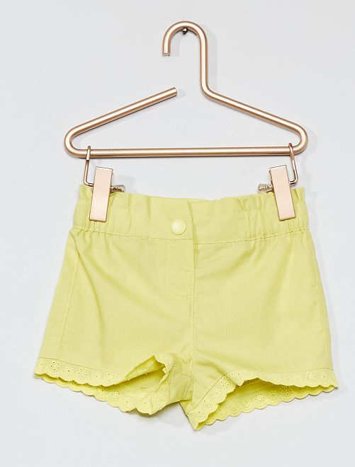 Short avec broderie anglaise                                                                                         jaune