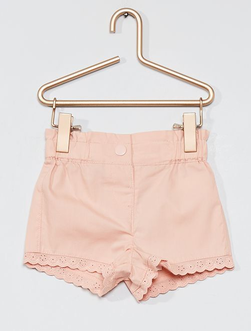 Short avec broderie anglaise                                                                             rose clair