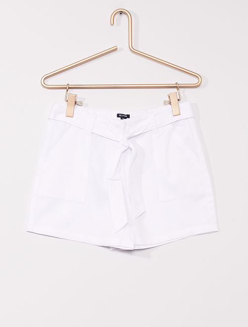 Short avec lin                                         blanc