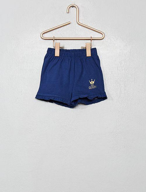 Short avec volants 'Bee Queen'                             bleu