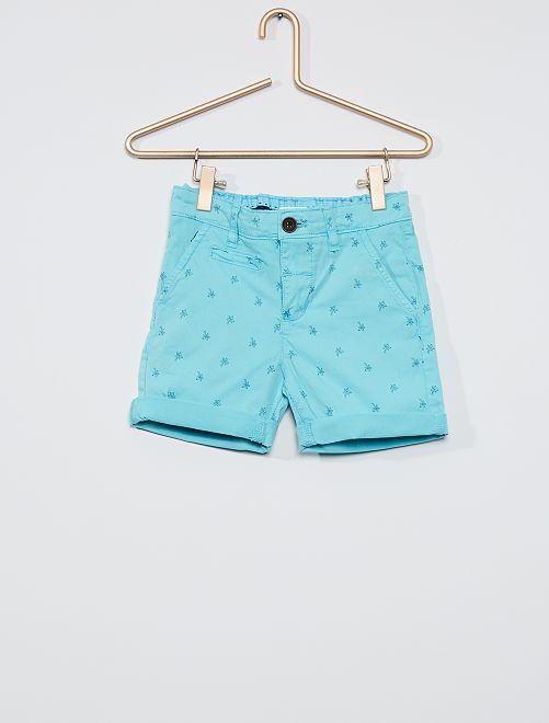 Short chino imprimé                             bleu turquoise