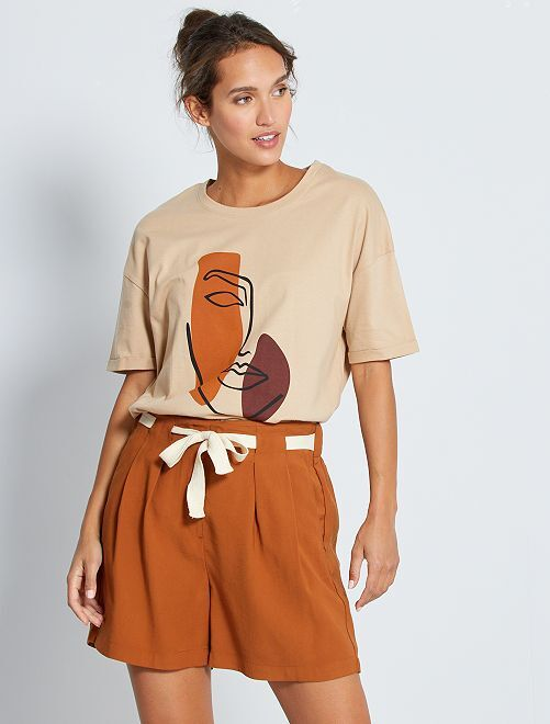 Short chino 'JDY' avec ceinture                             brun