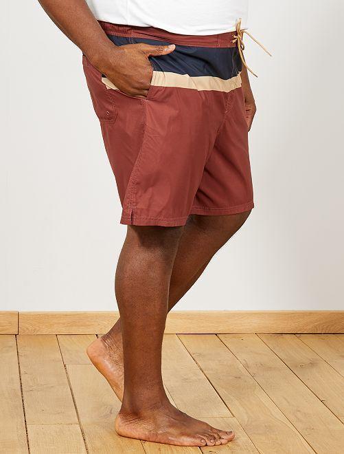 Short de bain colorblock                                         marron/bleu marine/beige Grande taille homme