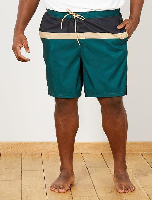 short de bain colorblock grande taille homme vert bleu. Black Bedroom Furniture Sets. Home Design Ideas