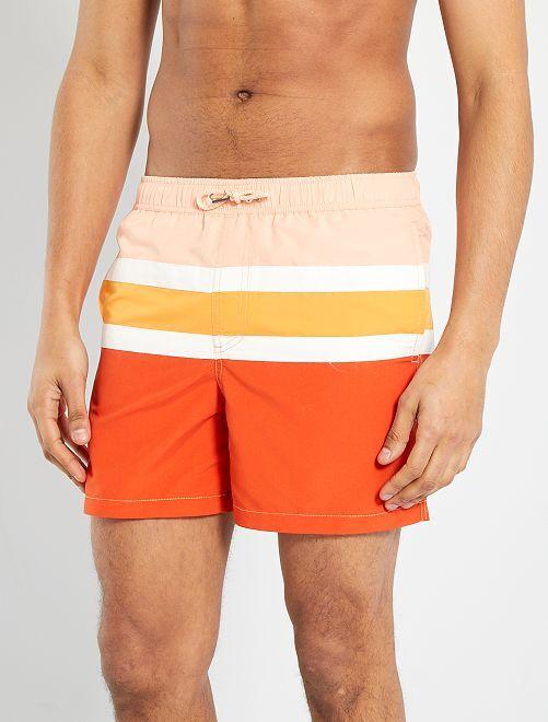 Short de bain éco-conçu                                         rayé orange