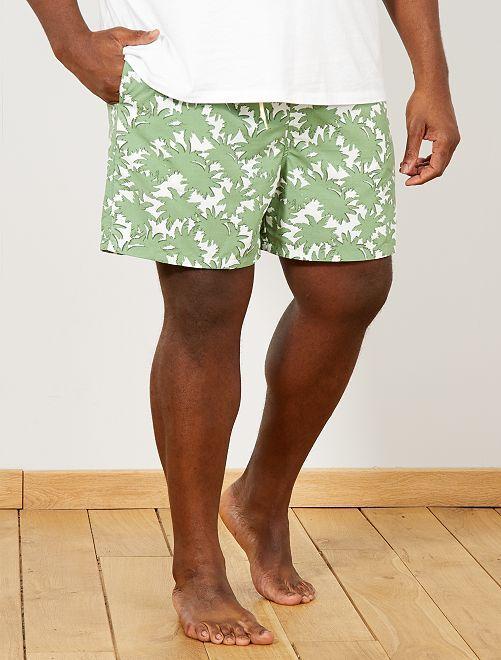 Short de bain imprimé 'palmiers'                             vert Grande taille homme