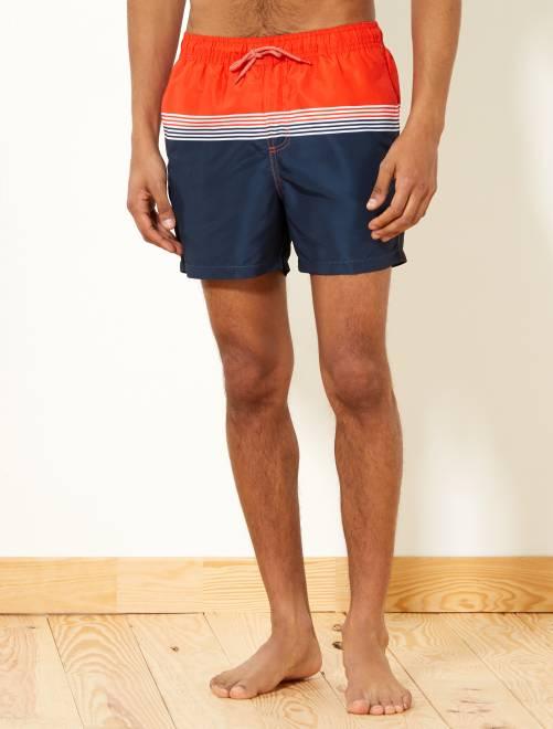 eaf8652727c Short de bain imprimé  rayures  Homme - bleu pétrole orange - Kiabi ...