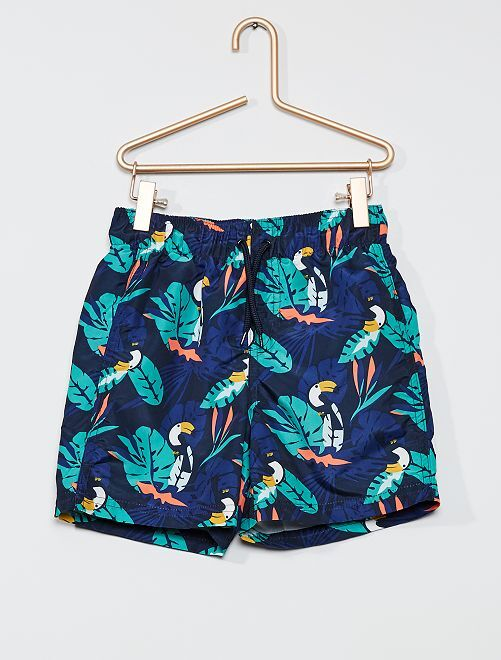 Short de bain imprimé 'toucans'                                                     bleu feuilles