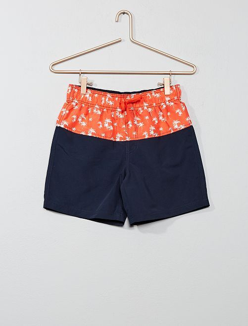 Short de bain 'Palmiers'                                         orange / marine Garçon adolescent