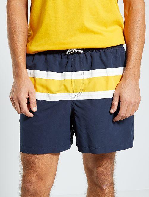 Short de bain tricolore                                         rayé jaune