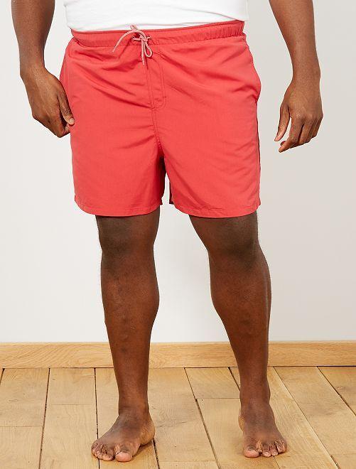 short de bain uni grande taille homme rouge kiabi 10 00. Black Bedroom Furniture Sets. Home Design Ideas