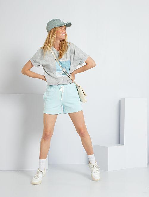 Short de sport en molleton                                                     bleu clair