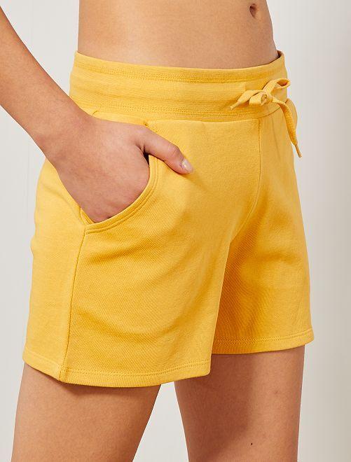Short de sport en molleton                                                                                                     jaune Femme
