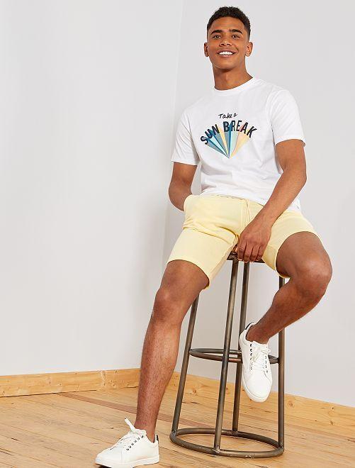Short de sport en molleton                                                                                                                 jaune pâle Homme
