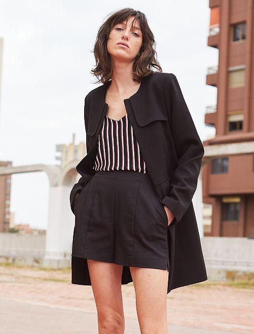 Short droit en satin de coton                                         noir Femme