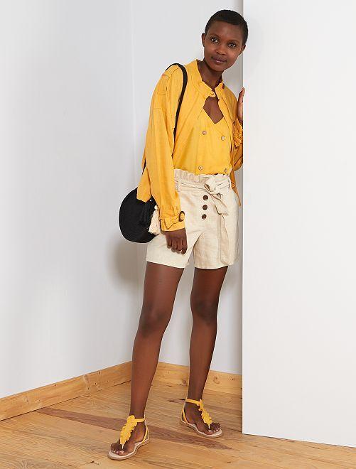 Short en coton et lin                             beige Femme