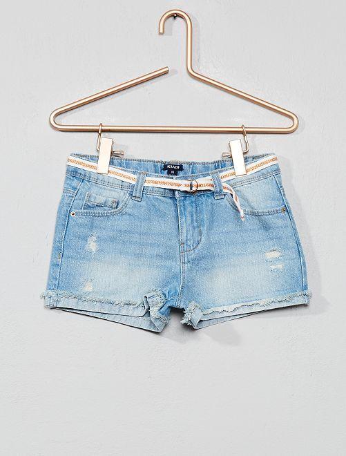 Short en jean à abrasions                                                                 bleu clair