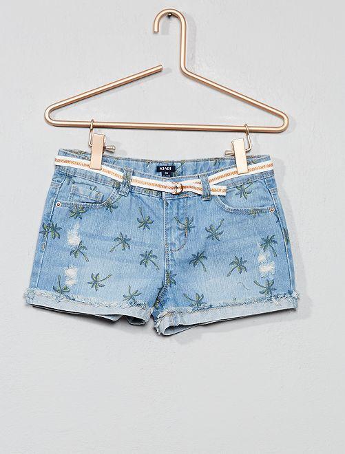 Short en jean à abrasions                                                                 bleu palmier Fille