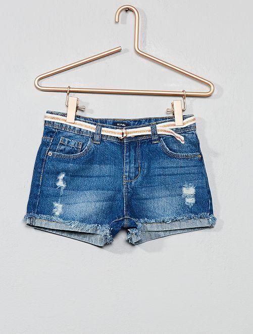 Short en jean à abrasions                                                                 double stone