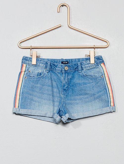 Short en jean à bandes                                                     bleu clair