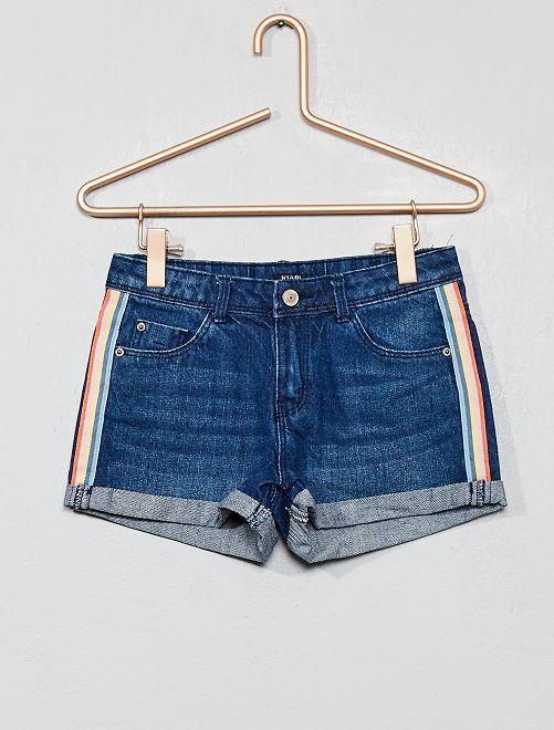 Short en jean à bandes                                                     bleu foncé