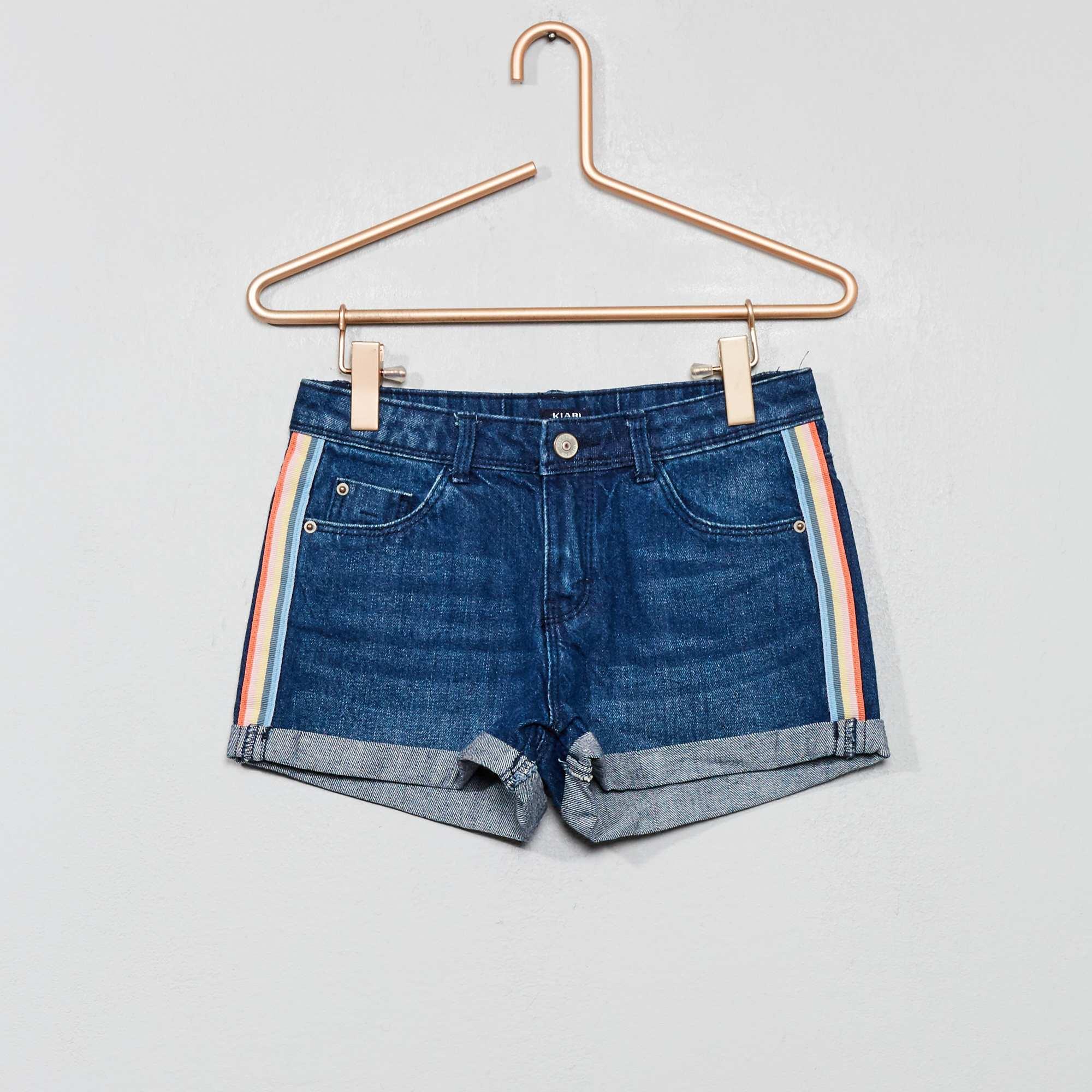 9dee53a0d1e57 Short en jean à bandes Fille - bleu foncé - Kiabi - 10,00€
