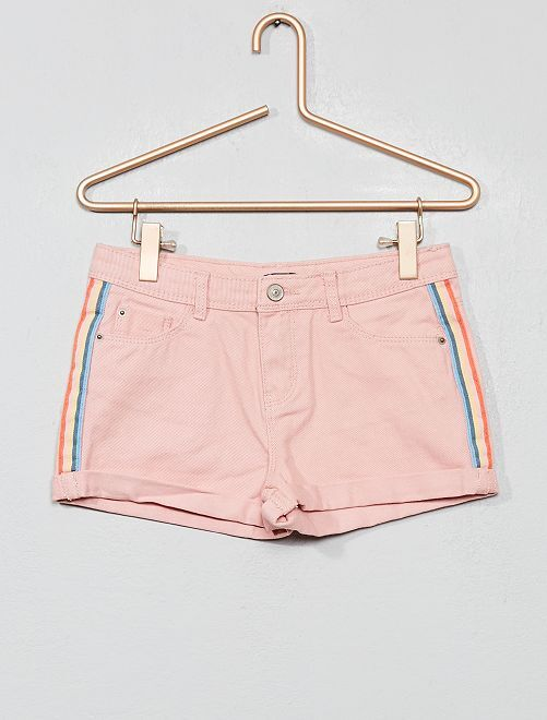 Short en jean à bandes                                                     rose Fille