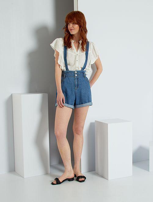 Short en jean à bretelles                             bleu