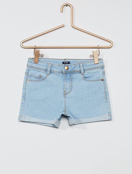 Short en jean à revers                                                                 bleu clair