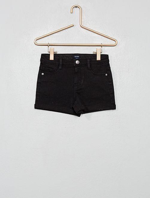 Short en jean à revers                                                                 noir