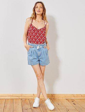 410acdb3649af Femme du 34 au 48 - Short en jean avec cordon - Kiabi